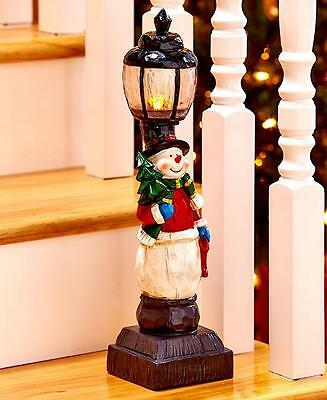 Rustic Holiday Lighted Snowman Lamp Breezeway Stairs Floor Table Christmas Decor