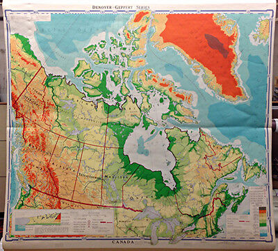 vintage Canada pull down school map