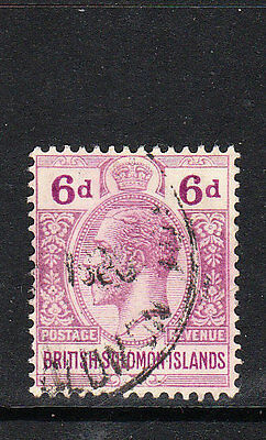 BR SOLOMON IS. 1927. GV 6d DULL & BRIGHT PURPLE DEFINITIVE. WMK MSCA. FU. Sg.47