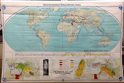 vintage world pull down map - bronze age and ancient empires