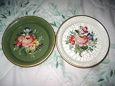 2 Hand Painted Vintage White & Green Metal Tole Dresser Pin Jewelry Pin Trays