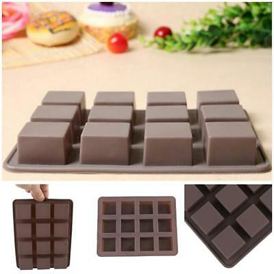 12 Square Cake Chocolate Bar Candy Mold Professional Silicone Bakeware Mould -8C