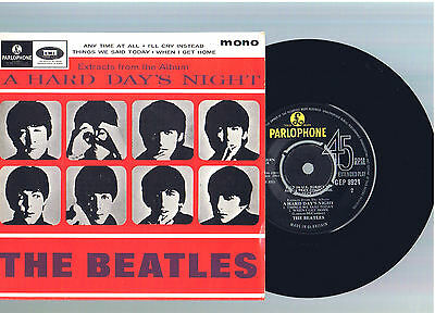 "RARE BEATLES - A HARD DAYS NIGHT ~ MONO EXTENDED 7"" w/ 4 SONGS ~ UK Ed ~EX COND"