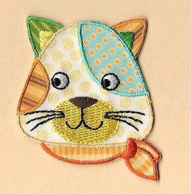 Napping On Yarn Kitten Embroidered Iron On Applique Patch Cat Pet