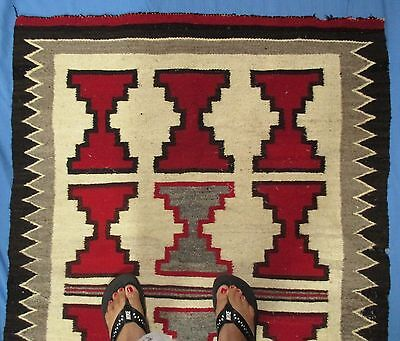 Large Awesome Navajo Indian Rug Diamonds with Red Black White Gray Some Damage