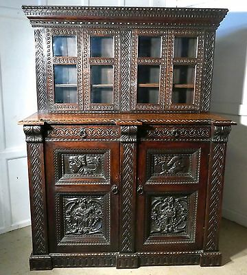 16th Century Celtic Carved Oak Dresser, Cupboard or Bookcase