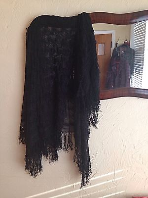 VINTAGE 1910s EDWARDIAN VICTORIAN BLACK LACE MOURNING SHAWL VEIL SCARF COSTUME