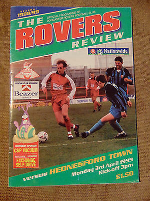 Doncaster Rovers vs Hednesford Town programme 3 April 1999 Nationwide Conf.