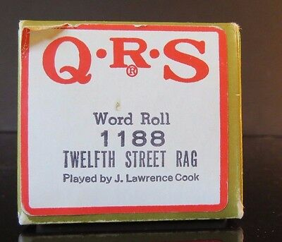 QRS Word Roll Player Piano TWELFTH STREET RAG 1186 Played by J. Lawrence Cook