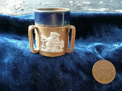 Stunning Miniature Tiny Stoneware Three Handled Mug Cup Jug  Marked Doulton ,