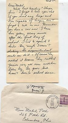 1941 Plain City Hilliard Columbus Ohio WWII Girlfriend Homefront Letter Mail Old