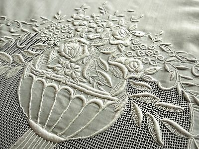 """~FLOWERS~ GORGEOUS French Antique Pillow Sham Cover Lacy DENSE EMBROIDERY 19x27"""""""