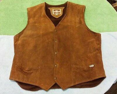 Harley Davidson Suede Leather Vest with Lining Brown Size 50 Pioneer Wear