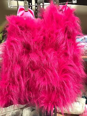 Furry Legwarmers Magenta Sparkle Fluffy Boots Rave Go-Go