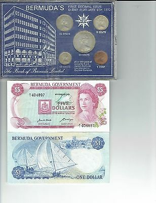Bermuda 1970 First Day of issue - Decimal coin set + $1 + $5