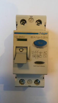 New Hager CD 282U 80A Double Pole RCD