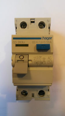 New Hager CD 263U 63A Double Pole RCD