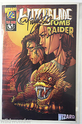 Signed Michael Turner Witchblade/tomb Raider Variant Wizard 1/2 2009 Coa Nm
