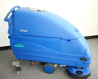 Floor Scrubber, Clarke L2426 Walk Behind Scrubber With Batteries, Used, Working
