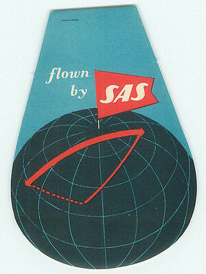Sas Scandinavian Airlines System Great Vintage Luggage Label