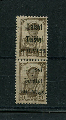 Germany Lithuania Occup.  6 Pair Type 3/2 1B +1D Telsiai  Mnh  Signed Krischke
