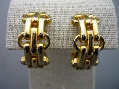 Vintage CHRISTIAN DIOR Gold Tone Haute Couture Clip Earrings Chain Link Jewelry
