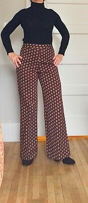 VTG 60s 70s  HIGH WAISTED Polyester Disco POLKA DOT Bellbottoms FLARE  Pants