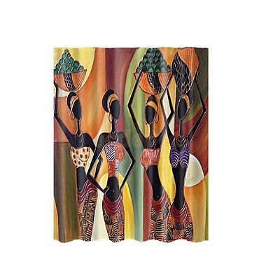 "Fabric Bathroom Shower Curtain 71""x71"" Divider Panel Hooks Set Beauty Girl"