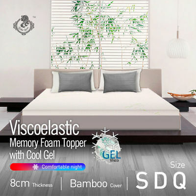 COOL GEL Memory Foam Mattress Topper Bamboo Fabric Cover 8CM Queen Double Single