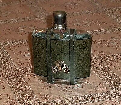 Flask fiaschetta glass and leather theme/logo applied vintage car