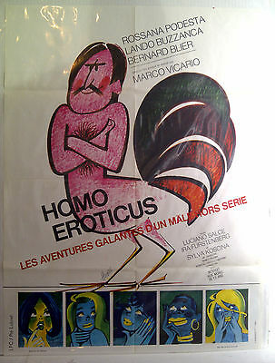 Homo Eroticus (Man of The Year) 1971 movie poster, 70s pop art
