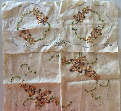 Vintage Myart Pure Linen 3 piece Vanity Set Embroidery Made in Australia CX1613