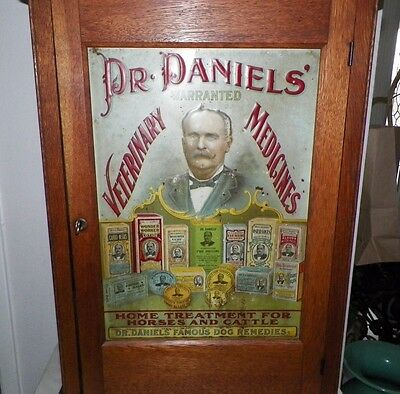 Vintage Dr Daniel Veterinary Medical Cabinet Tin Lithograph Front Cabinet