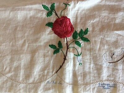 "Vintage Semco Pure Irish Linen Cloth  36 x 36"" Partly worked"