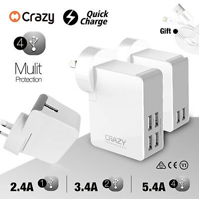 CRAZY Dual 4 Ports Fast USB wall charger Adapter for iPhone iPad Samsung AU