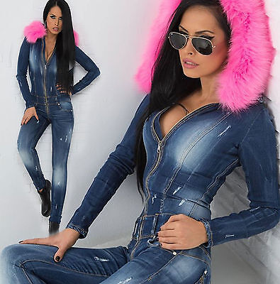 By Alina Damenoverall Jeansoverall Einteiler Röhrenjeans Overall Catsuit XS-M