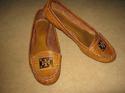 """TORY BURCH  """"Astor""""  Leather Flat Loafer Moccasin - Tan - Women's 9.5M - RARE!"""