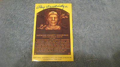 Ray Dandridge autographed Gold HOF plaque postcard