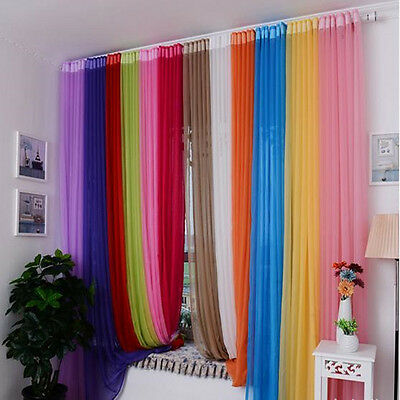 1pc Terylene Yarn Shade Solid Color Window Curtain for Living Room Bedroom Decor