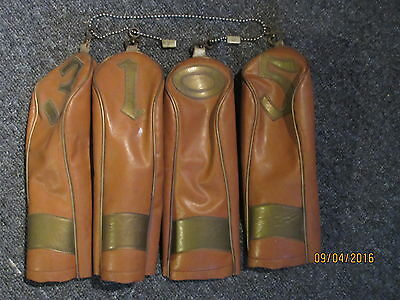Vintage Tan and gold vinyl Golf head covers  1 3 5 & Putter? RC?