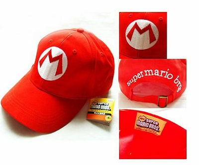 Super Mario Bros Adult Kids Costume Hat Anime Cosplay Red Mario Cap