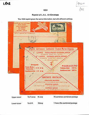 LB98 1924 French Morocco/Reprint of LAL Air Envelope