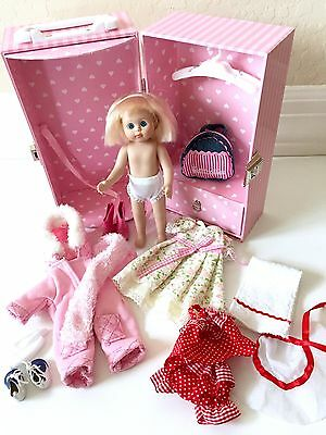 """Petitcollin Four Seasons FRENCH 8"""" Doll With Pink Trunk With Outfits ~ CUTE!"""