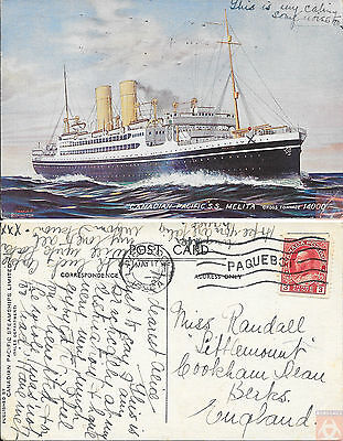 Canada - Carte Postale PAQUEBOT - MELITA - Posted at Sea 1924 - Liverpool