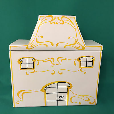 Vintage Ceramic Cottage House Mancer Italy Cookie Jar Canister White Yellow
