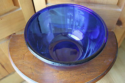 "Cobalt Blue Glass Mixing Serving Bowl Made in France 9.5"" Arcoroc"