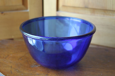 "Cobalt Blue Glass Mixing Serving Bowl Made in France 7"" Arcoroc"
