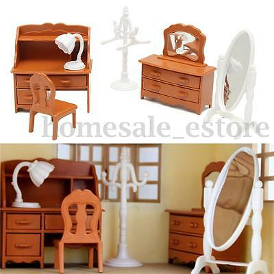 Vintage Plastic Miniature DollHouse Furniture Set Bedroom Decor Kids Toy Gifts