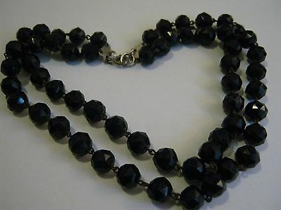 Antique Victorian Faceted French Jet Double Strand Choker Necklace