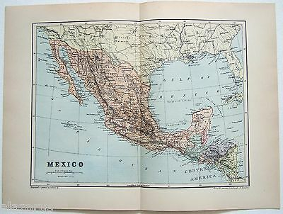 Original 1895 Map of Mexico by W & A. K. Johnston